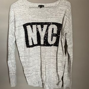 Express NYC grey long sleeve top sweater size S
